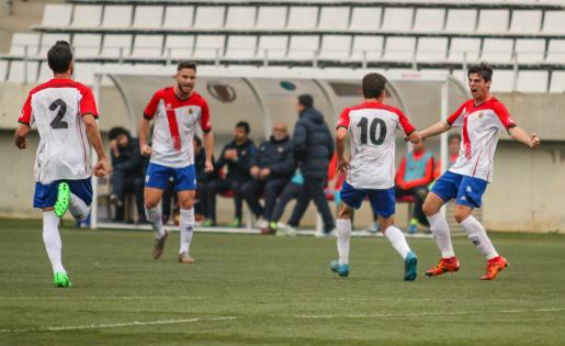 Aquest va ser el darrer cop que l'Hospi va celebrar un gol, el de Xavi Puerto contra l'At. Levante // FOTO: Javi Borrego