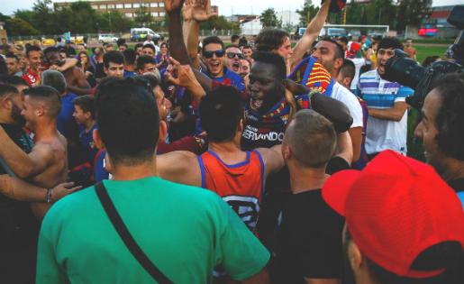 Marco va ser un dels grans protagonistes del partit amb el gol que va decidir l'ascens // FOTO: Javi Borrego
