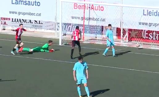Així va celebrar Dubasin el seu gol contra el Barça B // FOTO: Videotape FCB