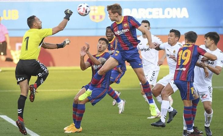 Arnau Comas va anotar l'únic gol del partit en una mala sortida del porter Wilfred // FOTO: Paco Largo-FCB
