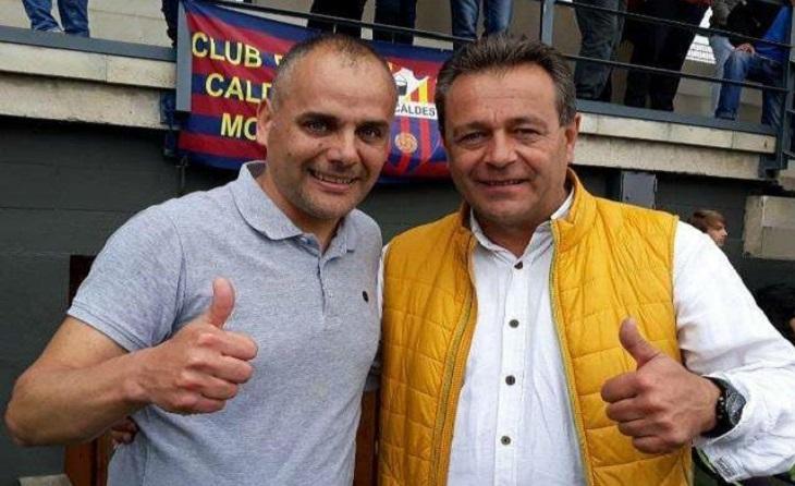 L'entrenador del Caldes Montbui amb el seu president Javi Ortega // FOTO: Eduardo Berzosa