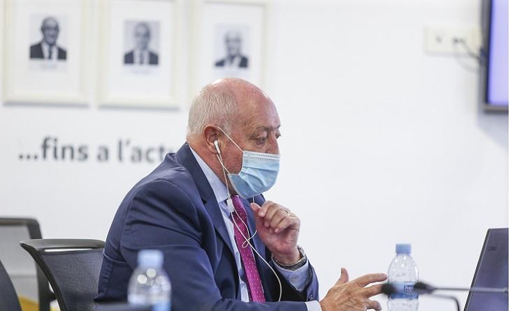 Joan Soteras, president de la FCF, molt pendent de tot el que es deia a Madrid // FOTO: FCF