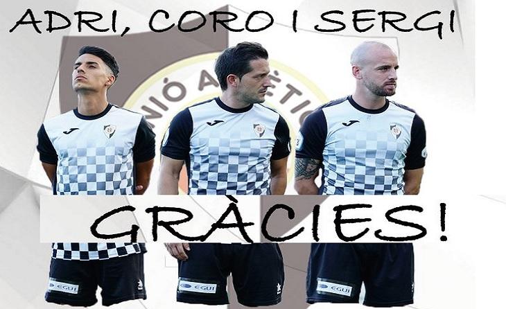 Adri, Coro i Sergi: missatge d'agraïment del club del Feliu i Codina // FOTO: U.Atco. Horta
