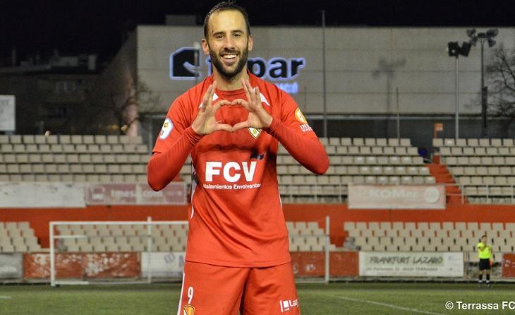 És la imatge habitual del golejador figuerenc Sergi Arranz // FOTO: Terrassa FC