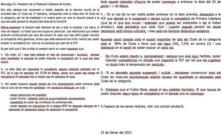 Nova carta dels clubs de la Primera Catalana a la Federació Catalana de futbol
