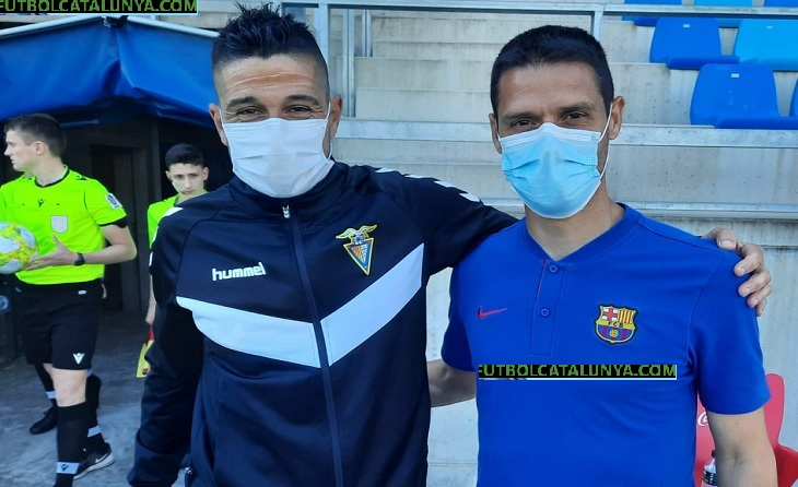 Santi Alvarez (Badalona) i Óscar López (Barcelona), els dos tècnics rivals, peró també amics // FOTO: Eduardo Berzosa