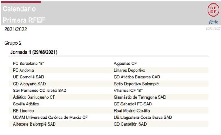 Primera jornada, Grup II, de la 1aRFEF, temporada 2021-2022 // Captuta RFEF