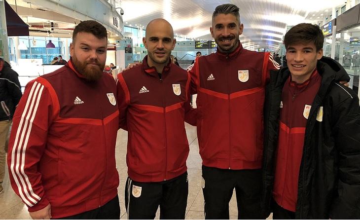 Sergi Pujol, Ton Alcover, Josu Martínez i Sergi Serrano amb la CatUEFA. Els dos últims, es retrobaran al Terrassa