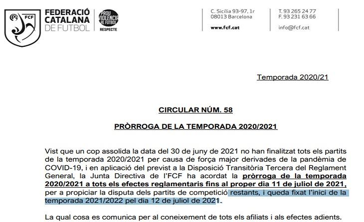 Carta 'misteriosa' per a desxifrar de la FCF a alguns clubs de 3 Catalana