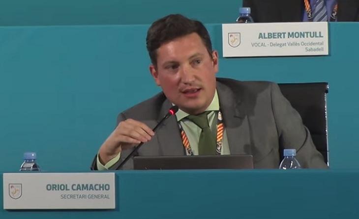 Oriol Camacho, secretari general de la Federació Catalana de futbol // FOTO: Captura TVFCF