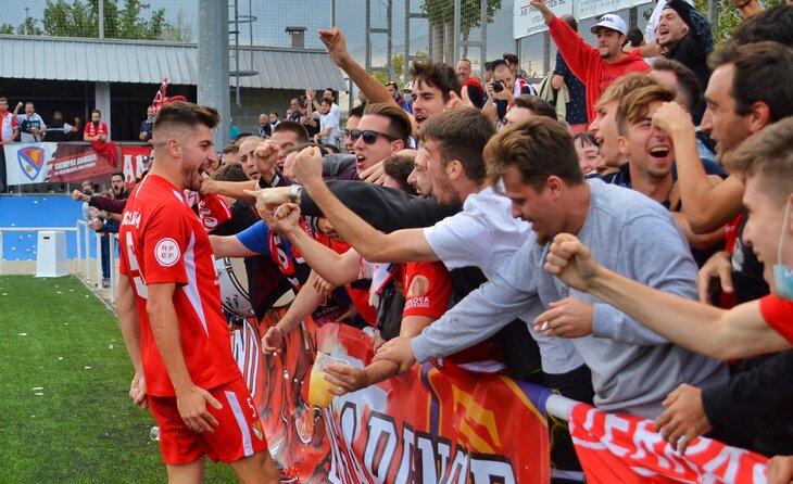 Lucas Viña va fer esclatar d'alegria els terrassistes presents a Ca n'Anglada // FOTO: Terrassa FC
